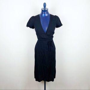 Reformation Black Puff Sleeve Wrap Dress Size XS